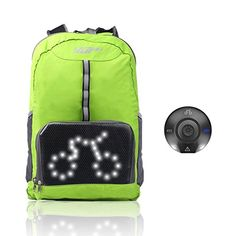 Cycling BackpackVUP Safety LED Turn Signal Light  Sensor Reflective Backpack for Sport Outdoor Waterproof Green >>> You can get additional details at the image link-affiliate link. #CyclingAccessories