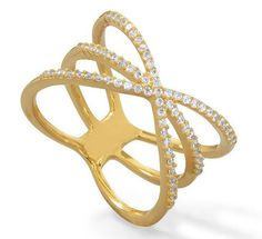 18 Karat Gold Sterling Silver Triple Row Criss Cross X CZ Ring – JaeBee Jewelry