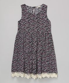 Loving this Black & Pink Floral Lace Dress - Girls on #zulily! #zulilyfinds