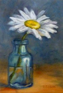 """""""Crazy Daisy"""" Oil on canvas, 7"""" x  5"""". I love the translucent white pedals of daisies.  Their centers resemble bright yellow pincushions too."""