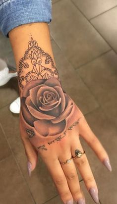 Geometric Rose Hand Tattoo Ideas for Women - Unique Watercolor Mandala Tat - www.MyBodiArt.com #tattoos