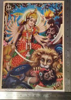 Vintage Hindu God Print Mahishasur Mardani