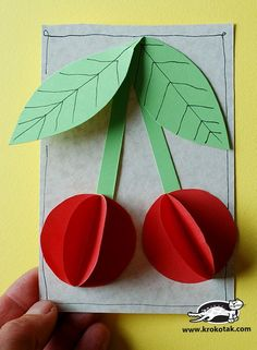 Paper Cherries : Cherries, what else could we use this with? Summer Crafts, Fall Crafts, Diy And Crafts, Arts And Crafts, Paper Crafts, Kindergarten Crafts, Preschool Crafts, Diy For Kids, Crafts For Kids