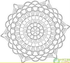 crochet - squares and doilies crochet Motif Mandala Crochet, Crochet Doily Diagram, Crochet Doily Patterns, Crochet Chart, Crochet Squares, Thread Crochet, Crochet Stitches, Bead Patterns, Pattern Ideas