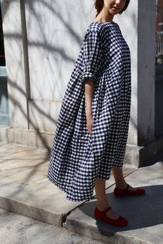 rennes. Veritecoeur Check Cotton Dress