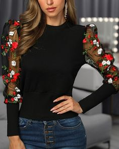 Floral Embroidery Patchwork Mesh Sleeve Blouse Shop- Women's Best Online Shopping - Offering Huge Discounts on Dresses, Lingerie , Jumpsuits , Swimwear, Tops and More. Look Street Style, Trendy Clothes For Women, Womens Fashion Online, Floral Embroidery, Pulls, Look Fashion, Pattern Fashion, Amazing Women, Fashion Dresses