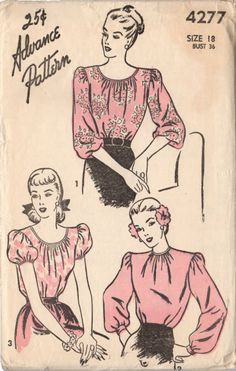 Vintage 1940s Advance Sewing Pattern 4277 Ladies Low Neck Blouse with Puff Sleeve Bust 36