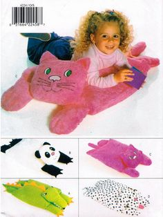 ANIMAL PILLOW PALS Sewing Pattern  Cat Panda Bear Dog Alligator Pillows
