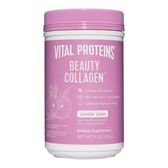 Made with Hyaluronic acid and probiotics for hydrated skin and good gut health, this VITAL PROTEINS® Beauty Collagen is a a nourishing elixir for glowing skin and inner beauty, lightly flavored with lavender lemon. Hourglass Makeup, Beauty Water, Vital Proteins, Collagen Powder, Clinique, Skin Elasticity, Skin Firming, Hyaluronic Acid, Arbonne