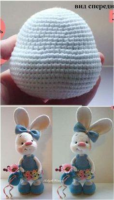 Crochet Bunny Pattern, Crochet Dolls Free Patterns, Crochet Rabbit, Cute Crochet, Amigurumi Patterns, Crochet Home, Crochet Crafts, Hello Kitty Crochet, Crochet Disney