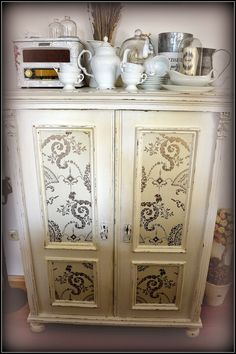 cabinet with wallpaper - my shabby white home