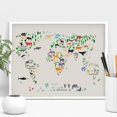 Cat World Map Poster Cats World Map World Map Print by VocaPrints