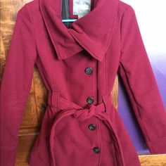 Maroon peacoat Charlotte Russe maroon small peacoat. Very warm and soft. Long enough that it goes below my waist , to a little above mid thigh. Only worn once or twice so is in perfect condition. Selling it because it doesn't fit my shoulders (I have broader shoulders). Charlotte Russe Jackets & Coats Pea Coats
