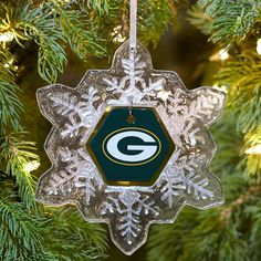 Green Bay Packers Snowflake Ornament at the Packers Pro Shop http://www.packersproshop.com/sku/0402488133/