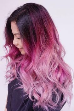 75 Pastel Hair Colors That Soften and Brighten Your Looks pastel ombre hair - Ombre Hair Long Pink Hair, Pink Ombre Hair, Purple Ombre, Ombre Colour, Dyed Hair Pink, Balayage Hair Purple, Pink Purple Hair, Brunette Ombre, Blonde Balayage