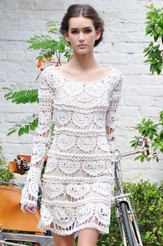 """Vestido de Crochê  com Gráficos """"Coração"""" - 1   /  Crocheting  with Dress Graphics  """"Heart"""" - 1"""