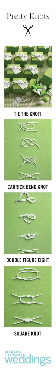 "wedding package wrapping ...  knot tying photo directions ,,, ""tie the knot"" pun clean, bright and simple elegance ,,, white know on green paper ,,, marthastewartweddings ..."