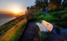 Lonely bench taking in a coastal sunset. Photo by Trey Ratcliff.