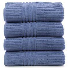 Luxury Hotel & Spa Towel 100% Genuine Turkish Cotton Bath Towels - Wedgewood - Stripe - Set of 4