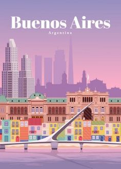 Travel to Buenos Aires poster by from collection. By buying 1 Displate, you plant 1 tree. Poster Vintage, Vintage Travel Posters, Vintage Ski, Argentine Buenos Aires, Vintage Travel Wedding, Art Deco Posters, Wall Posters, Vintage Travel Trailers, South America Travel