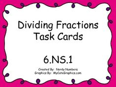 Combine cooperative learning and dividing fractions. Task cards include whole and mixed numbers along with story problems. Dividing Fractions, Math Fractions, Math 8, Multiplication, Math Teacher, Math Classroom, Teaching Math, 6th Grade Activities, Sixth Grade Math