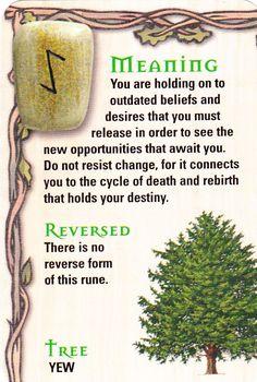 ☆ The Rune - Eoh - Y - The Yew Tree ☆ ~ EIHAWAZ Representa a árvore do YEW e sua natureza infinita.O galho dessa árvore pode dobrar-se,mas não se quebra. Utilizada para confeccionar arco e flechas.