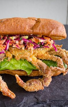 SOFT-SHELL CRAB PO' BOY with BUTTERMILK APPLE & CHIVE COLESLAW [USA, New Orleans, NonTraditional] [pitchforkdiaries] [submarine sandwich, grinder, sub, wedge, hoagie, hero, blimpie, gatsby, po' boy, zeppelin, zep, spuckie] [coleslaw, cole slaw, slaw]