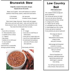 "Golden Isles, Georgia recipes for  Brunswick Stew & Low Country Boil... more ""local"" recipes @ www.goldenisles.com"