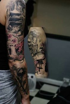 Full Arm Tattoos, Arm Sleeve Tattoos, Sleeve Tattoos For Women, Tattoo Sleeve Designs, Leg Tattoos, Body Art Tattoos, Tattoos For Guys, Japanese Temple Tattoo, Japanese Dragon Tattoos