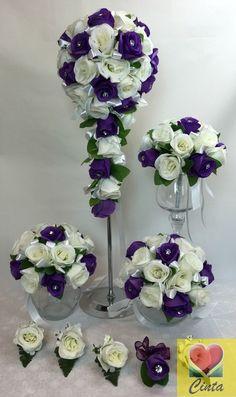 Silk flower diamante purple/white rose flowers teardrop wedding bouquet set.
