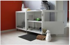 Besta Shelf Turned Top Shelf Bunny Hutch Keeps Your Pet.
