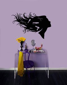 Wall Vinyl Decal Sticker Removable Room Window Girl with Combs in Hair Beauty Salon Sign TK2. $24.99, via Etsy.