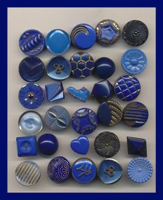 Assorted Designs - Thirty Vintage Small Blue Glass Buttons