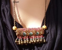 Yemenite prayer  and charm  box necklace - seed beads and metal belles