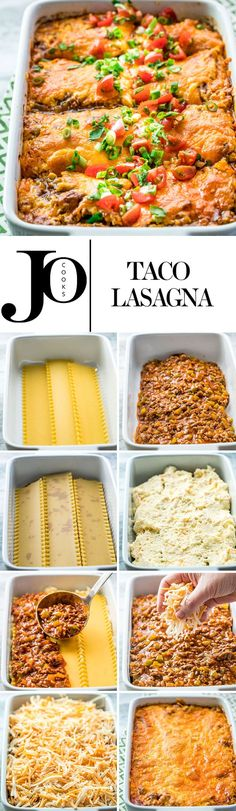 This taco lasagna is saucy, cheesy and delicious. Try this fun twist on your traditional lasagna with lots of Mexican flavors, yet still an easy weeknight and family-friendly meal. (easy weeknight meals with hamburger) Pot Pasta, Pasta Dishes, Beef Recipes, Cooking Recipes, Healthy Recipes, Recipies, Lasagna Recipes, Easy Lasagna Recipe, Entree Recipes
