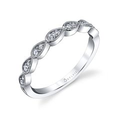 Vintage Inspired Stackable Diamond Wedding Band | Diamond Wedding Band