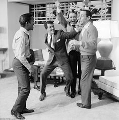 Sammy Davis Jr, Dean Martin, Frank Sinatra and Joey Bishop on the Warner Bros set of Ocean's Eleven in 1960