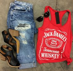 Jack Daniel's Racerback Tank {Coral/red} • Big Star Slouchy Distressed Skinny • Very Volatile 'Cagney' Sandal • Vintage Sunnies