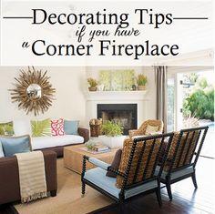 Corner Fireplace Decorating Tips (plus furniture arrangement)
