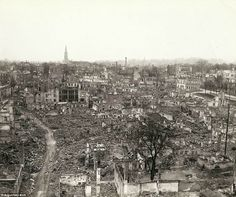 Never the same: This bombed-out town may be Freiburg im Breisgau, which was on the southern part of the German Siegfried line