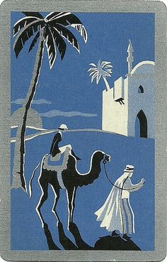 vintage playing card blue holiday by Millie Motts, via Flickr