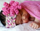 BABY Headband Crochet PATTERN with Curly-Q Flower~$3.99