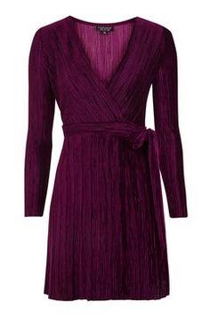 Pleated Velvet Wrap Dress