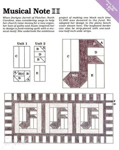 Musical Note Quilt Block & Piano Bench Cover quilt sewing pattern & templates in Crafts, Sewing & Fabric, Quilting | eBay