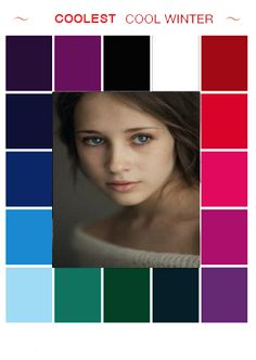 Cool Winter Color Palette, Deep Winter Colors, Color Type, Type 4, Winter Typ, Clear Winter, Seasonal Color Analysis, Jewel Tone Colors, Cool Undertones
