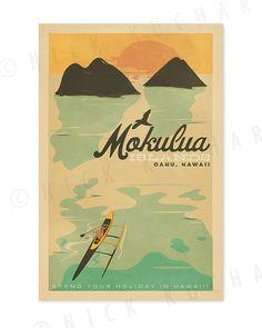 Mokulua Islands Oahu  12x18 Retro Hawaii Print by EverythingIsJake, $20.00