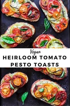 Roasted Tomato Toasts made with sourdough topped with vegan pumpkin seed pesto, basil, olive oil, and flaky se salt.These Roasted Heirloom Tomato Toast Recipe is perfect for breakfast, lunch, or as a Summer snack. The best vegan toast toppings! #sgtoeats #tomatotoast #vegantoasts