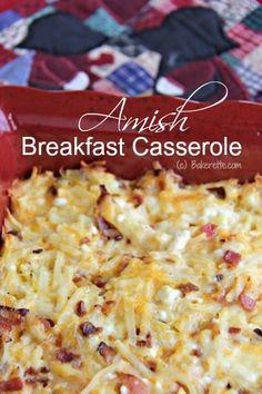 Amish breakfast casserole: Three cheeses! Looks amazing.