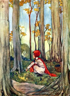 "Little Red-Riding-Hood in the wood. Illustration by Rie Cramer from ""Favourite French Fairy Tales"" French Fairy Tales, Red Ridding Hood, Charles Perrault, Fairytale Art, Red Hood, Children's Book Illustration, Book Illustrations, Botanical Illustration, Little Red"