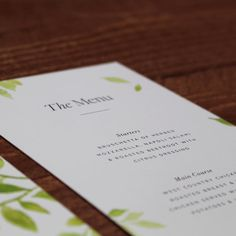 The Botanical Wedding Collection features original, hand-painted watercolour pastel green foliage complimented with bold typography.
